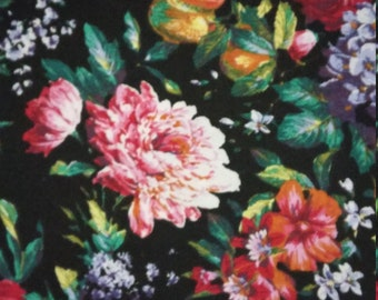 Sale 20% Off Floral and Fruit home dec FABRIC 1 3/4 yds Peonies Grapes, Hyacinths multicolor on black