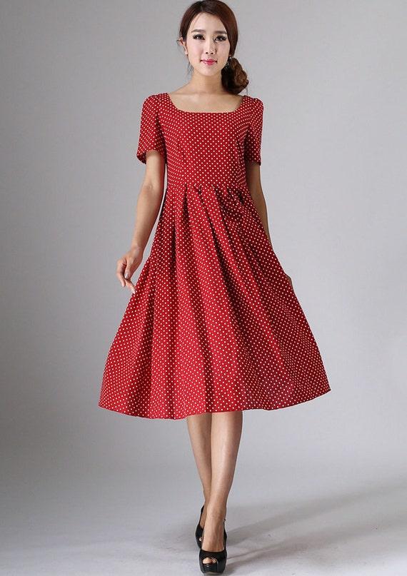 red polka dot dress, linen dress, midi dress, womens dresses, retro dress,  A line dress, pleated dress, summer dress, made to order (974)