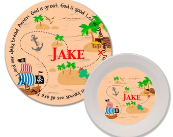 Personalized Melamine Plate and Bowl Set - Mealtime Set - Melamine Dinnerware Set - Childrens Dinnerware - Kids Plate and Bowl Set - Pirate