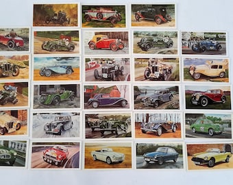 Tobacco cigarette cards, Grandee cigars, trading cards, M G motor cars, full set 28 cards 1923 to 1975