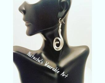 "Fun Small Dangly Aluminum Wire Earrings/ Earrings come with Stainless Steel Ear Hook/ Earrings Hang 2"" long"