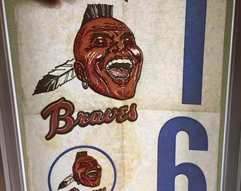 Vintage Atlanta Braves Screaming Indian 1970s Logo Tee Shirt Transfer Old Style Never Used