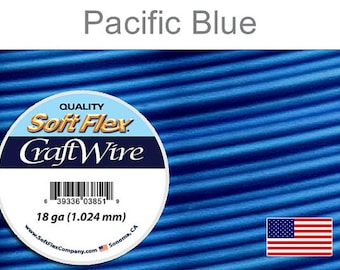 18 Gauge Pacific Blue Soft Flex Wire, Silver Plated, Round, Non-Tarnish, Supplies, Findings, Craft Wire