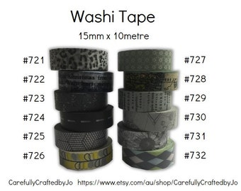 Washi Tape - Grey/Gray - 15mm x 10 metres - High Quality Masking Tape