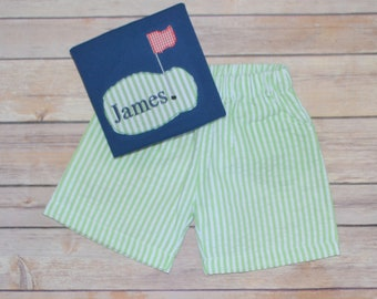 Boys golf outfit, boy golf shirt, monogrammed golf shirt, boys summer outfit, seersucker shorts, toddler beach outfit, golfing outfit