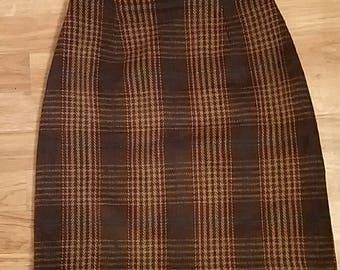 Vintage 70s Talbots Plaid Wool Blend High Waist Skirt 4 petite Excellent Condition