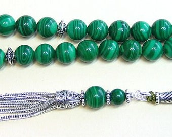 Luxury Prayer Beads Tesbih AA Grade Malachite & Sterling Silver -Top quality - Collector's