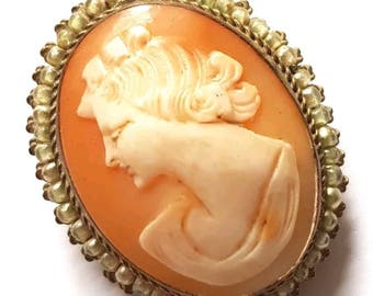 Antique Victorian Real Shell Cameo Brooch Pendant Pin