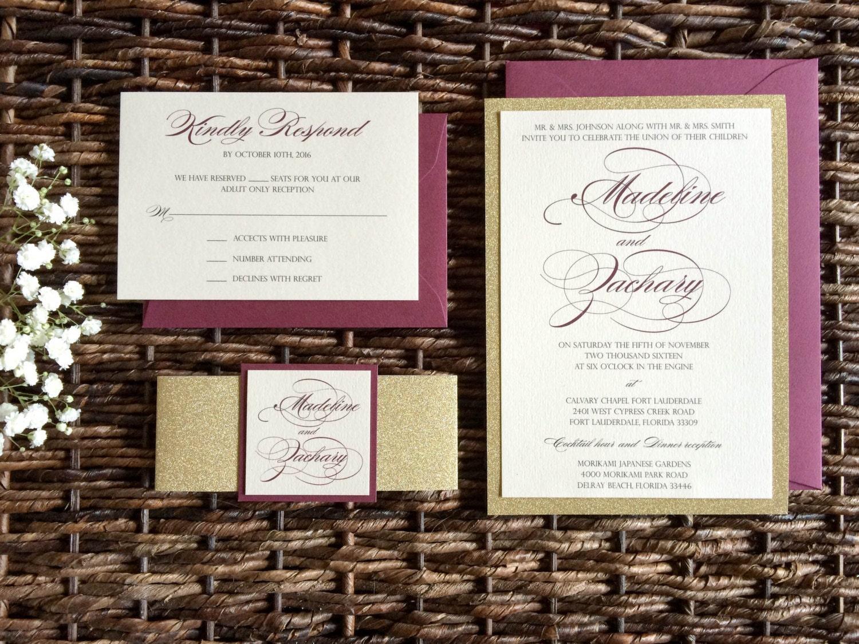burgundy and gold glitter wedding invitation with glitter