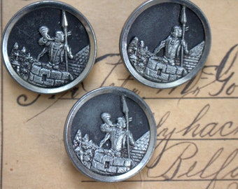 Trumpeter Victorian Picture Button x 3