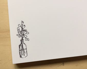 vintage sketch flowers notepad, stationery, flowers notepad, to do list, fliers in vase