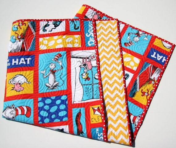 Cat In the Hat Quilt Kit Wholecloth Cheater Panel Yellow : cat in the hat quilt kit - Adamdwight.com