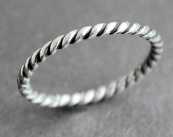 Sailor Ring - Twisted Rope Sterling Silver Stacking Band