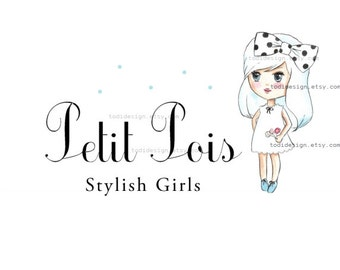 Character Illustrated Premade Logo design and Business card design- Petit Pois- Girls Boutique Clothing -