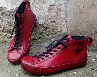 Handmade leather sneakers REDS