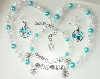 Frozen set Necklace bracelet earrings snowflakes turquoise white pearls