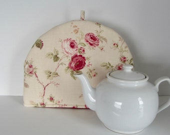 Fabric tea cozy, Cotton fabric cozy, Lined teapot warmer, Roses print fabric