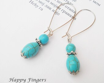 Turquoise earrings Gemstone earrings Turquoise jewelry Gift for her Blue earrings Boho earrings Simple earrings Everyday Earrings