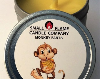 Handcrafted Monkey Farts Scented Soy Candle from Small Flame Candle Company