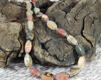"Multicolored Picasso jasper necklace 19"" long multicolor twisted rectangles semiprecious stone jewelry packaged in a colorful gift bag 10507"