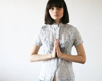 Bamboo forest shirt japanese print on a semi transparent gray shirt Very light gray shirt 80s (S/M)