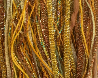 Gold, One Off Special, Limited Edition, Hand Dyed Embroidery Thread, Textured Threads, Variegated Threads, Mixed Media Supply