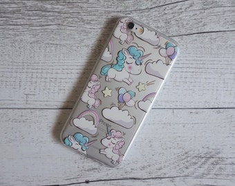 Unicorn in the Clouds Design Soft Mobile Phone Case - for; iPhone 5/5s,  5c, 6/6s, 6/6s Plus, SE,  7, 7 Plus, 8, 8 Plus & X