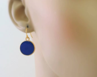 Gold Earrings - Enamel Earrings - Blue Earrings - Round Earrings - handmade jewelry