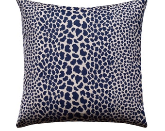 Leopard Pillow Cover, Cheetah Pillow Cover, Leopard Print Pillow, Animal Print Pillow, Blue Leopard Pillow, Animal Print Decor, Indigo Blue