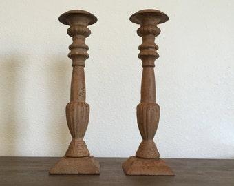Vintage Metal Candlestick Holders; Pillar Candle Holders; Footed Candle Holders; Vintage Candleholders