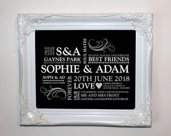 Wedding memories keepsake typographic print