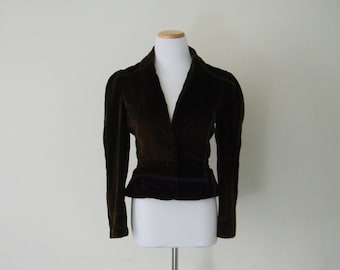 FREE usa SHIPPING Vintage Women's velvet jacket/ chocolate brown/ cropped jacket/ handmade/ size S
