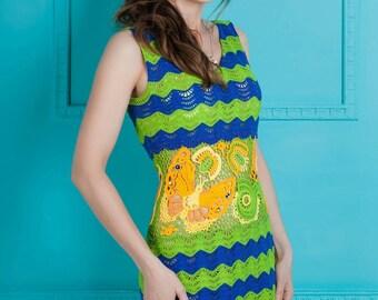 Crochet dress Irish Lace Dress, Crochet marine dress, striped dress, Art dress Bright dress lace dress