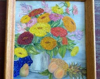 Vintage framed original oil painting of zinnias and fruit, still life, flowers, 1960s