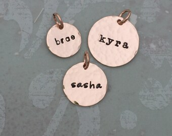 Rose Gold Fill Hammered Name Charm