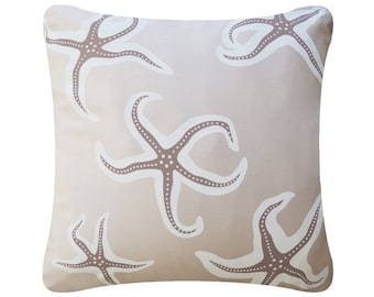 Starfish Beige Throw Pillow Cover, Beach Pillow, Beach Décor, Decorative Pillows, Coastal Pillow, Nautical, Starfish Decor, 18 x 18""