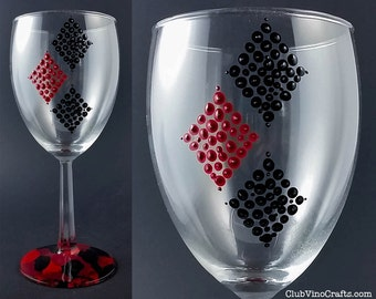 Ready to Ship: Handpainted Harley Quinn Medium Wine Glass with Marble Base