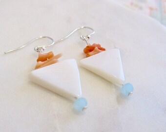 minimalist earrings,  mother of pearl earrings, coral earrings, gemstone earrings, white earrings
