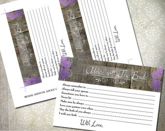 Bridal Shower Game - Advice to the Bride to be - Rustic Trees - INSTANT DOWNLOAD - Purple #13 color