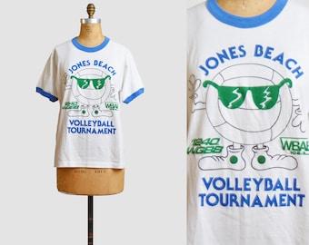 Vintage 80s T Shirt Jones Beach Volleyball Tournament Miller Lite Beer Shirt Burnout Retro TShirt Long Island NY Graphic Ringer Tee Medium