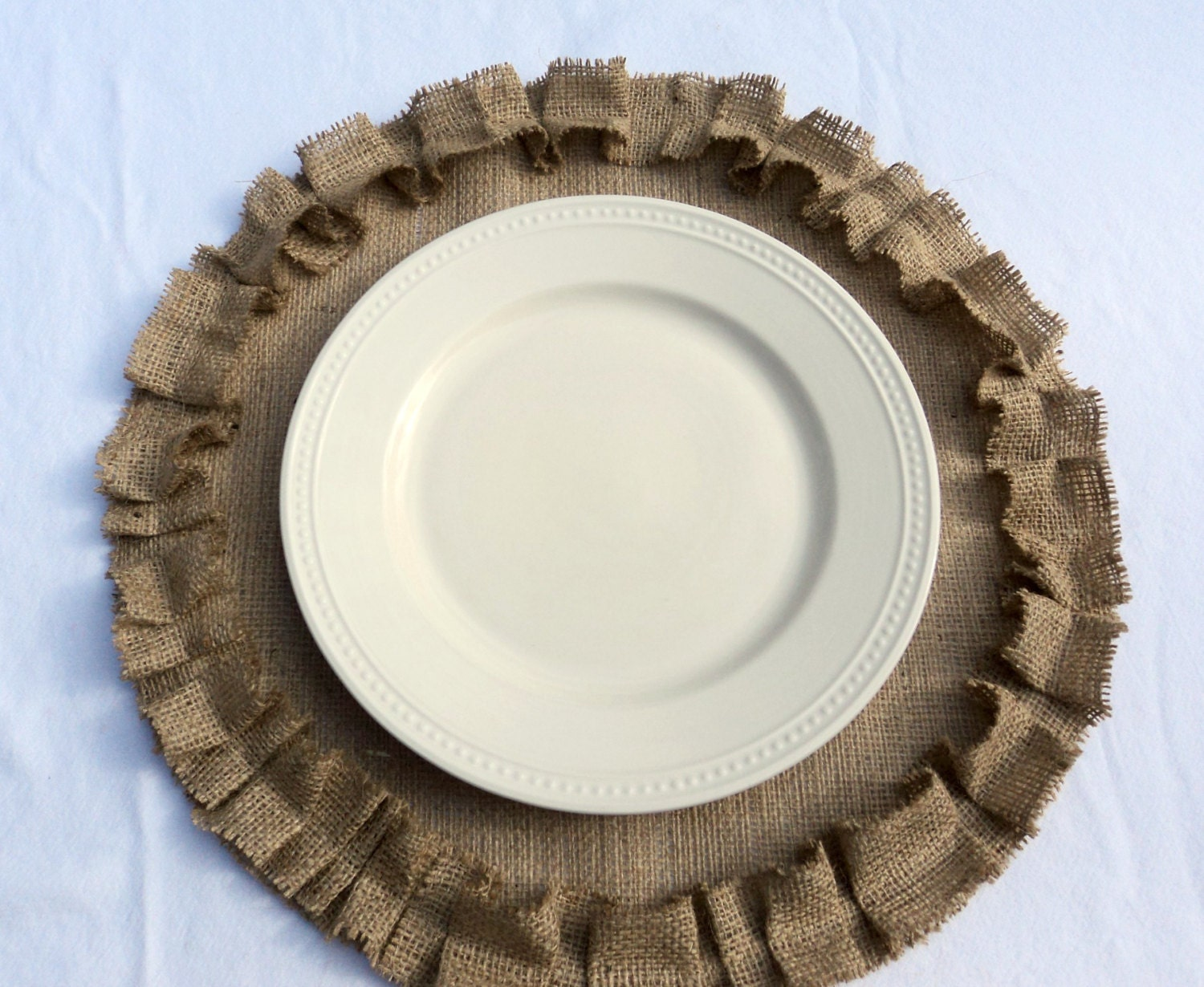 Burlap Placemats Round Burlap Placemats with Ruffles Rustic