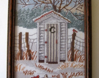 Outhouse Vintage Counted Cross Stitch Newly Framed A Reborn Item