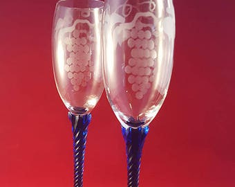 SALE...Etched Flutes with Blue Twisted Stem S/2