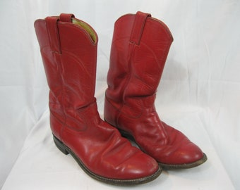 Red Leather Justin Cowboy Boots Size 6 B