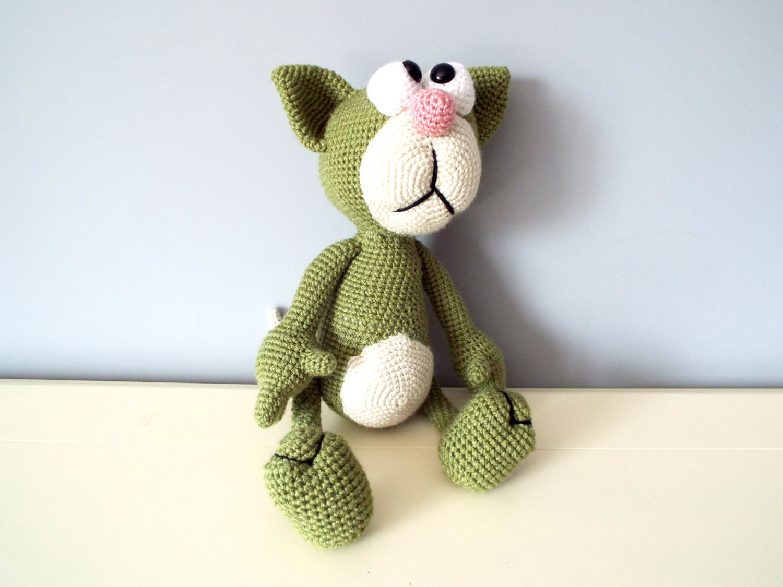 Amigurumi Cat Doll : Crochet cat amigurumi green hand knitted cat gift ideas for kids