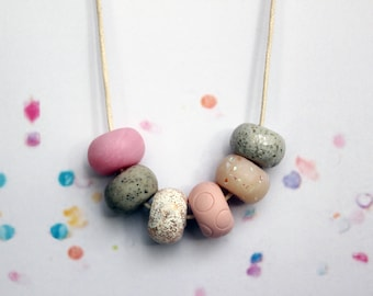 Rose Quartz Handcrafted Polymer Clay Necklace