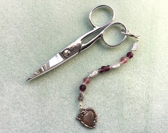 Vintage Bead Scissor Fob/Silver Tone and Purple Beads/Lobster Claw Closure