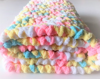 Pastels Baby Blanket, Crochet Baby Blanket, Security Blanket, Photo Prop, Handmade Blanket, Car Seat Blanket, Gender Neutral, Free Shipping