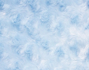 Ruth LIGHT BLUE Cuddle Minky Rosette Soft Faux Fur Fabric by the Yard - 10083