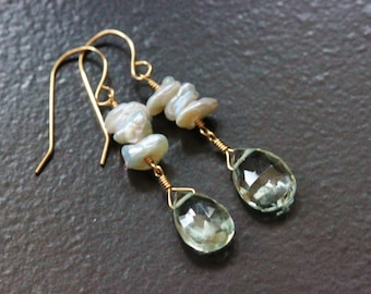 Green Amethyst Keshi Keishi Pearls Stacked Earrings, 14k Gold Filled, February June Birthstone, Creamy White Sage, Wire Wrapped - Emily